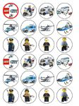 24 x Lego Police Edible Wafer Paper Cup Cake Top Toppers